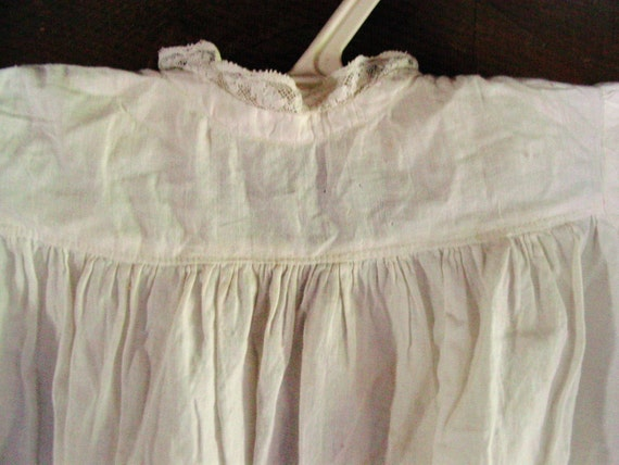 """Reserved For Mandy Antique 30"""" Long Baby Christening Gown White Cotton"""