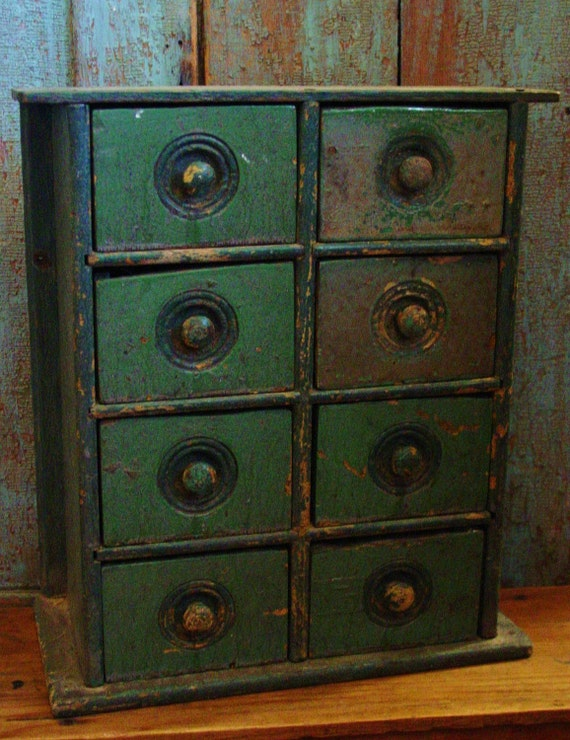 Antique Primitive Old Painted Wood Spice Chest Cabinet Drawers