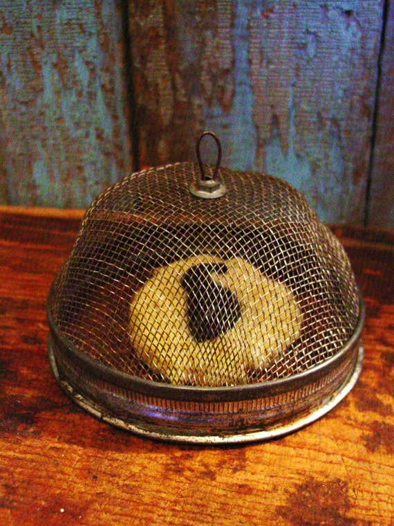PRIMITIVE SHOO FLY SCREEN FOOD COVER WITH CARMEL SPICE CAKE COOKIE TART