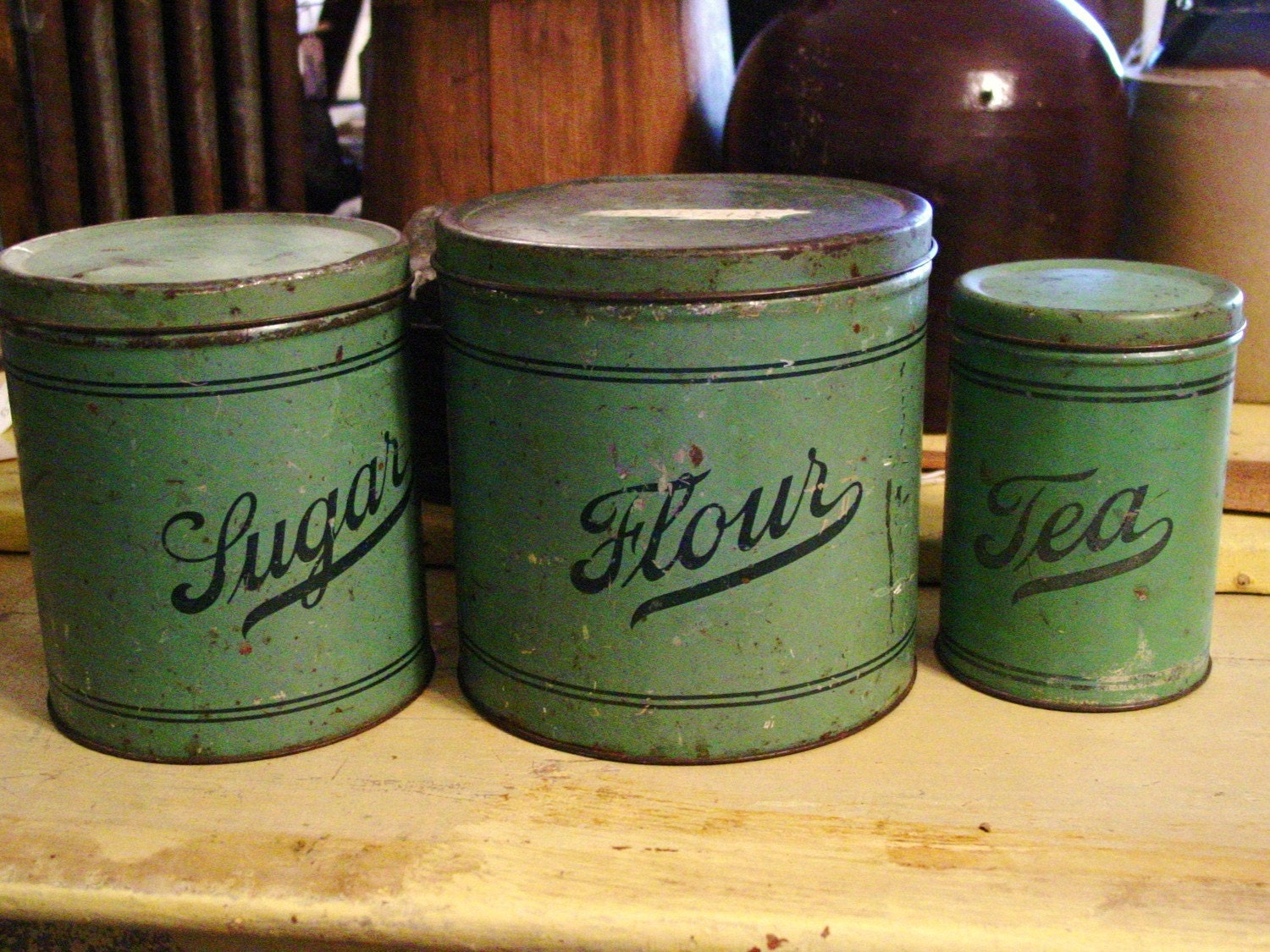 Old Farmhouse Kitchen Green Metal Canisters Flour Sugar Tea
