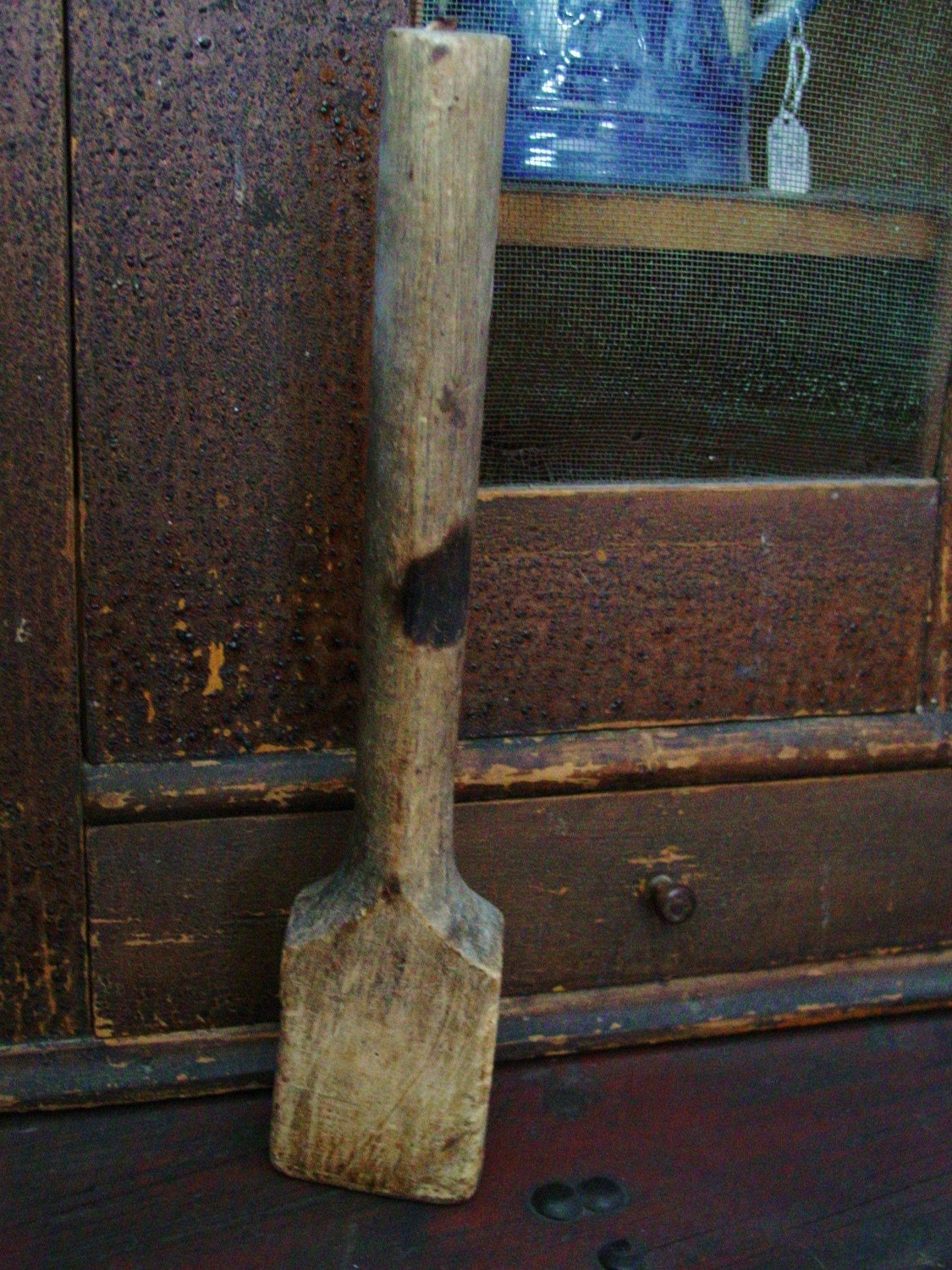 Handmade Primitive Wooden Hot Bath Sign Farmhouse Country: Early Primitive Kitchen Large Handmade Wood Wooden Masher