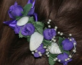 5 Seashell and Rosebud Floral Hair Combs or Barrettes for Bridesmaids, custom made in your choice of colors