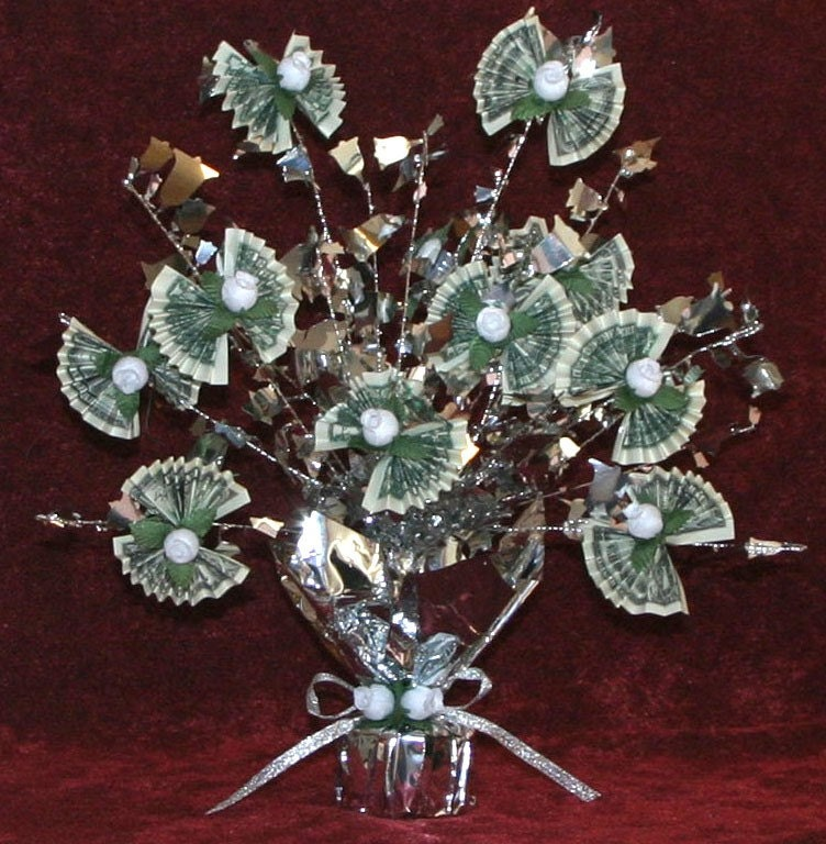 Appropriate Amount Of Cash For Wedding Gift: Sparkling MONEY Tree Made With REAL Dollar Bills Style 50BL