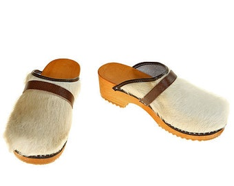Classic Cowhide Clog  ( uni white / bright sole )