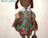Primitive Folk Art Black Doll with Flour Sifter