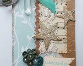Thinking of You Handmade Scrap Card Lace Glass Glitter