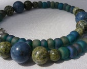 blue green anklet coral serpentine stone/ sea serpent