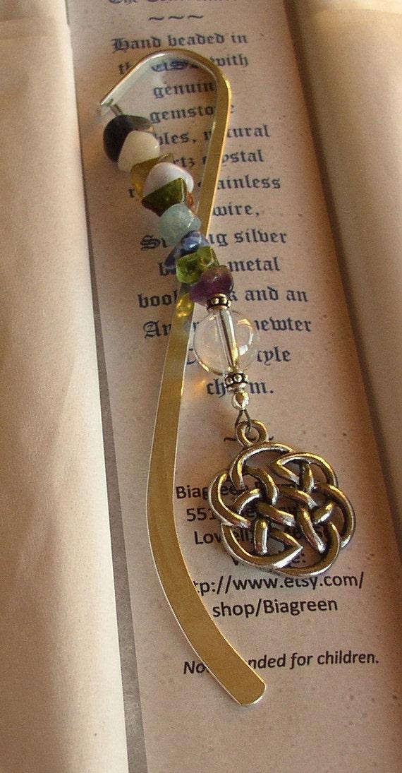 beaded bookmark celtic knot gemstones