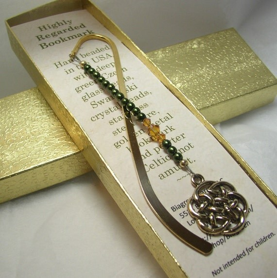 celtic knot green bookmark / highly regarded