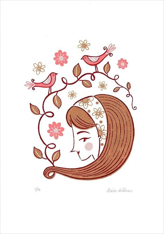 Spring Flowers Hairdo Birds Woman Girl Pretty Pink Limited Edition Gocco Screenprint