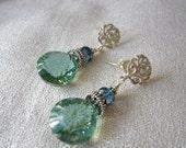 Green Quartz Earrings, Green Quartz and London Blue Topaz Earrings, Elaborate, Post, Sterling Silver