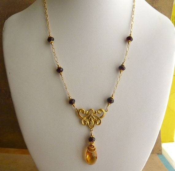 Citrine and Garnet Necklace in Vermeil - On Sale