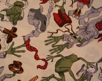 TOAD FROG FABRIC Alexander Henry Mr. Toad Gets Dressed - 1 Yard - Very Rare - #KR13