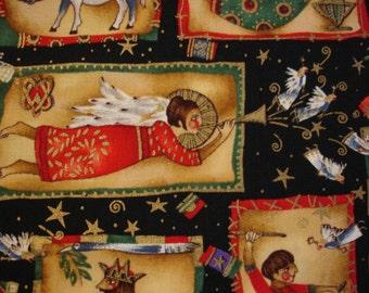 CHRISTMAS FABRIC Tiny Bethlehem Black Alexander Henry 1994  - 1 Yard - X3