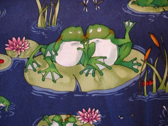 Frogs in Love Blue Alexander Henry (Last YARD) Fabric Rare OOP (F-3)