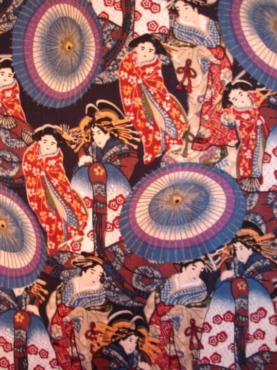 Geisha with Umbrellas 2000 Kona Bay Fabric Rare OOP (Last Yard) (A-12)