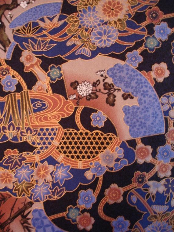 LAST YARD ASIAN Fabric Fans and Flowers Blue Kona Bay Fabric 2001 - a14