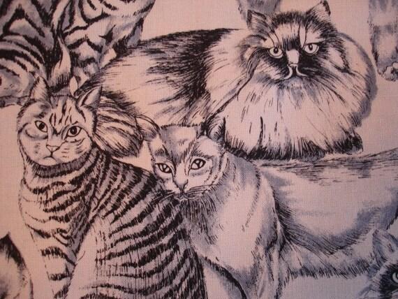 CAT FABRIC Large Breeds in Black on Tea Timeless Treasures Fabric Rare (1 Yard) C36