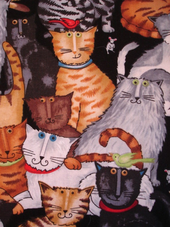 Cat Collage Debi Hron for Timeless Treasures Fabric 2007 Rare OOP (1 YD) (C31)