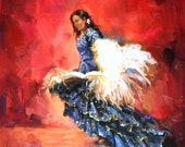 CUSTOM ORDER Flamenco Dancer Oil Painting.