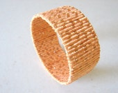 Shimmery Peach Bracelet Eco Friendly Yarn Covered Bangle Delicate Beautiful Cuff OOAK, Ready To Ship, Spring Fashion, Gift for Her
