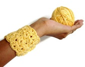Wrist Warmer Citrine Bracelet Soft Crochet Bamboo Mustard Yellow Cuff with Pearly White Buttons, Spring Fashion, Mothers Day