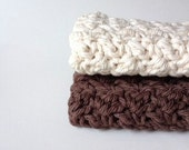 Cotton Crochet Washcloth Hand Knit Organic Dishcloths Kitchen Dish Rags Bathroom Home Eco Friendly Brown Ecru Set of 2 MADE TO ORDER