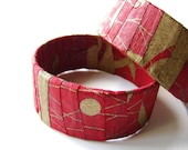 Red Gold Bracelet Eco Friendly Fabric Covered Bangle Wearable Art Cuff, READY TO SHIP, Summer Fashion, June Trends