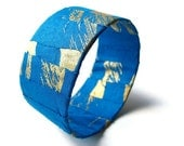 Blue Fabric Covered Bracelets Turquoise Gold Pattern Cuff Eco Friendly Bangle, READY TO SHIP, Summer Fashion, June Trends