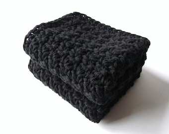Crochet Washcloths Black Eco Friendly Cotton Face Scrubbies - Set of 2 - MADE TO ORDER