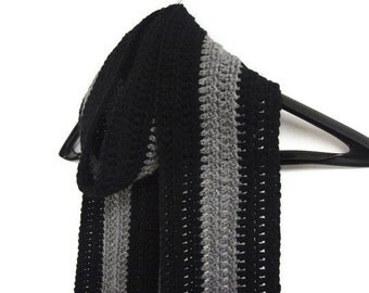 Man Scarf Stripe Masculine Black Gray Striped Men Scarf Unisex Sports Fan, 5 Inches Wide, MADE TO ORDER