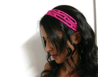 Hippie Headband Honeysuckle Pink Trellis Hairband Hot Pink Adjustable, MADE TO ORDER