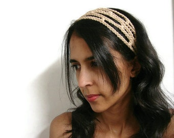 Crochet Headband Tan Adjustable Head Band Trellis Hairband, MADE TO ORDER, Trendy Chic Office fashion