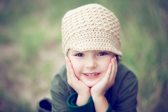 Toddler Newsboy Hat, Tan Girl Cap, Little Boy Beanie, Crochet Soft-Brimmed Visor, MADE TO ORDER, Children Clothing Fall Fashion