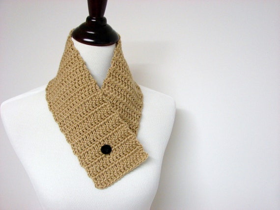Button Cowl Crochet Neckwarmer Hand Crocheted Scarf Tan Khaki - READY TO SHIP