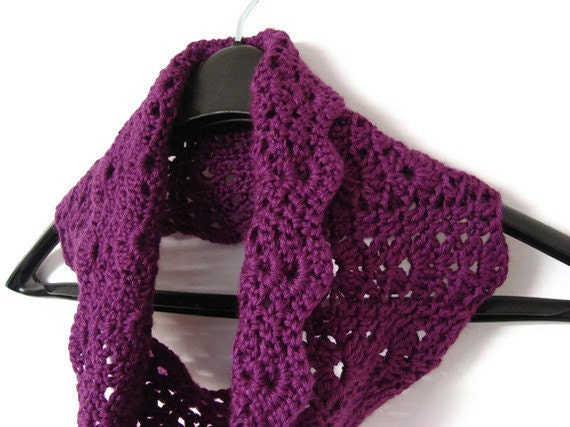 Circle Scarf Passion Purple Infinity Cowl Lightweight Crochet Scarf MADE TO ORDER Gift For Her Girlfriend Wife Mother