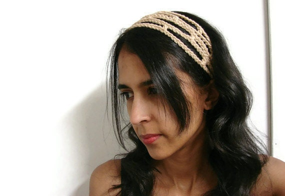 Crochet Headband Tan Adjustable Head Band Trellis Hairband, MADE TO ORDER, Trendy Chic Office fashion