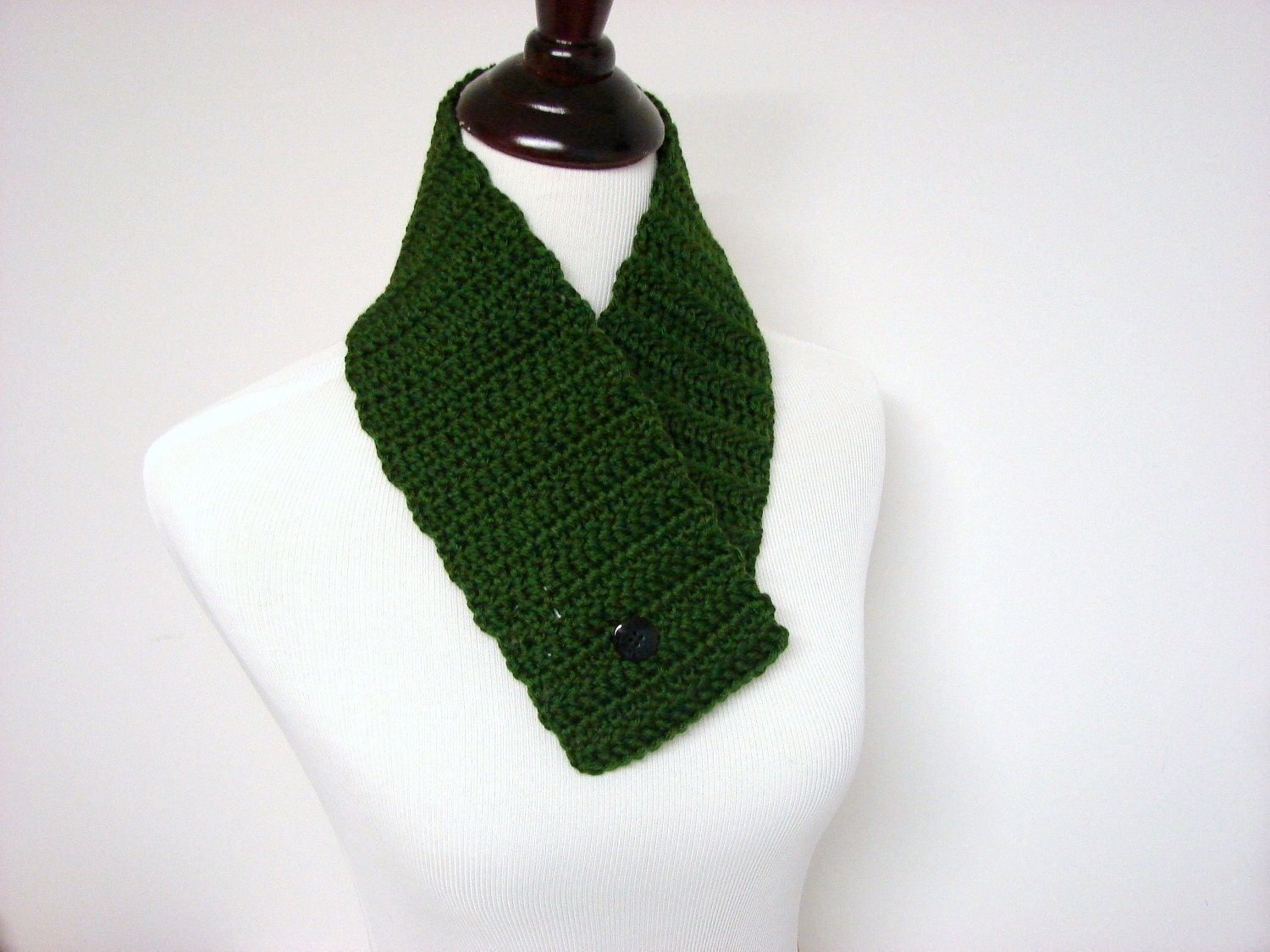 Crochet Scarf Infinity Cowl Winter Scarf Forest Green Crochet  Cowl Neck Scarves Crochet