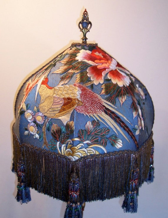Hold for JAMESWHORNE /// Silk Embroidered Beaded Tassels Exotic Bird Floor Lamp Hand Made Antique Vintage