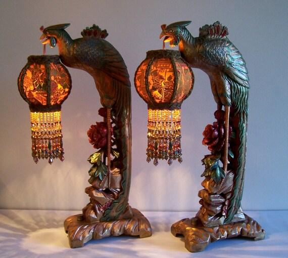 Sold /// Pair Phoenix Bird Table Lamps Beaded Lanterns Antique Vintage