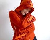 Fiery - fleece jacket with pixie hood and fluorescent crochet detail, orange, L