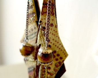 Rustic Butterfly - dangle earrings with print leather and tiger eye