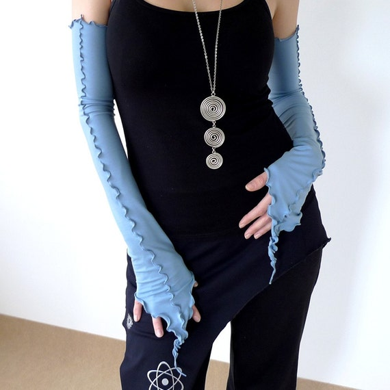 RESERVED for dreamsanddances - Enigma Sleeves - arm warmers in light blue jersey, all sezes.