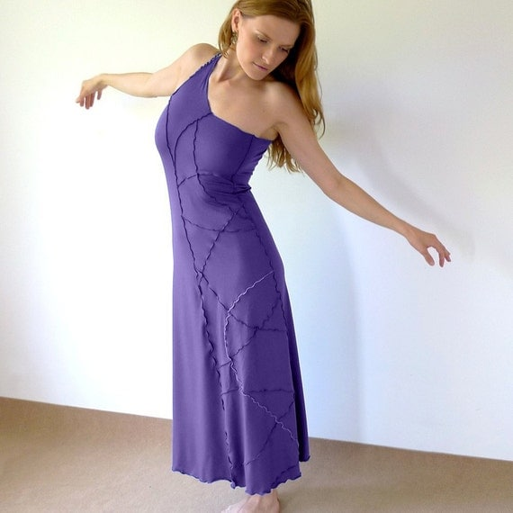 Wilma - long one shoulder jersey dress / skirt with freehand serging, periwinkle or pick your color, made to order, all sizes