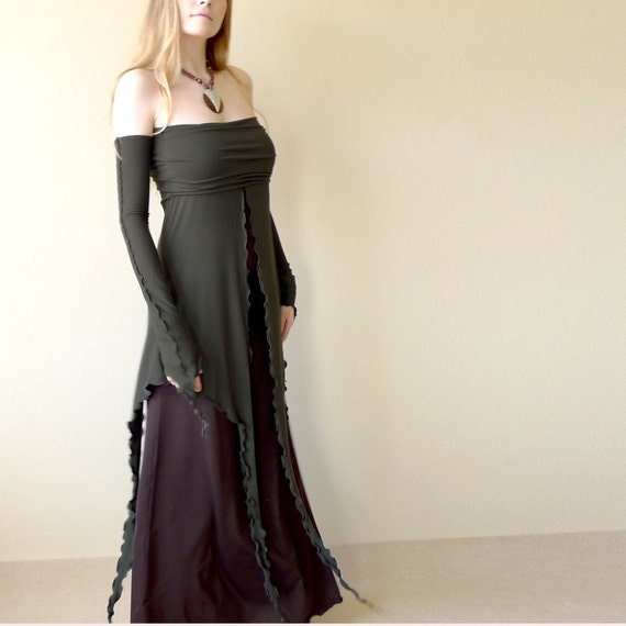 RESERVED for StylishGuru - Aethelwine - long two layers jersey dress, pick your color, made to order, all sizes