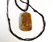 Hand Carved Yellow/Brown Jade Pendant