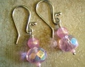 Pink Beaded Dangle Earrings