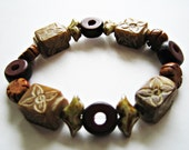 Floral Carved Jade, Palm Nuts and Czech Glass Stretch Bracelet