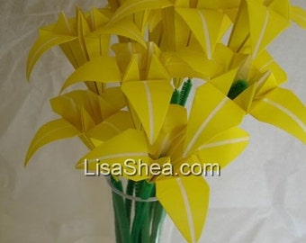 Bouquet of 12 Yellow Origami Flowers
