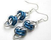 Blue and Silver Barrels Earrings